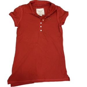 American eagle red polo button down shirt